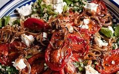 Diana Henry's bulgur and spinach pilaff with chilli-roast tomatoes, labneh and sweet onions