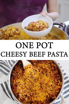 One pot cheesy beef pasta is the perfect meal kids and adults will both love! Easy to make and even easier clean-up this Cheesy Beef Goulash is the perfect kid-approved dinner recipe! Cheesy Goulash Recipe, Beef Goulash, Goulash Recipes, Hamburger Meat Recipes Ground, Ground Beef Recipes Easy, Beef Recipes For Dinner, Beef Pasta, Chicken Pasta Recipes, Easy One Pot Meals