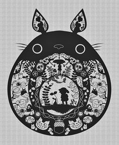 So many Totoro inspired negative space art pieces! This one's a bit folksy. Nice symmetry.