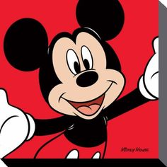 Mickey Mouse - Disney - Red - Canvas Print 40 x 40 cm