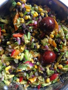 Run Baby Run: Summertime celebrations: This is my absolute FAVORITE salady/dip -- corn, black beans, avocado, peppers, onions, and a whole lotta yum!