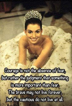 Courage is not the absence of fear, but rather the judgment that something is more important than fear. The brave may not live forever, but the cautious do not live at all -The Princess Diaries