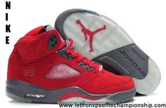 Latest Listing Cheap Fluff Fire Red/Grey-White Air Jordan 5 (V) Newest Now