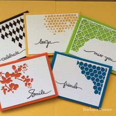 Tim Holtz mixed media dies used for these cards. Batch-making with 'Colourflute' | papermilldirect