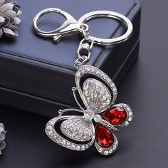 New Lovely Crystal Butterfly Keychains Creative Key Chain Car Keyrings Women Girls Bag Pendant Charm Fashion Jewelry Outfit Accessories From Touchy Style. Jewelry Design Earrings, Charm Jewelry, Jewellery, Whatsapp Wallpaper, Cute Keychain, Girls Jewelry, Girls Bags, Wholesale Jewelry, Crystal Rhinestone