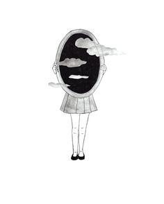 #ilustration #art #drawing #bw #blackandwhite #girl #mirror #minimal #minimalism #clouds #sad #mood #ink #pencil #watercolor