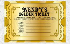 Chocolate Factory, Golden Ticket - Digital File PRINTABLE, D.I.Y. - by Metro Events/Metro-Designs. $6.98, via Etsy.