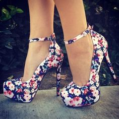 Floral high heels, so pretty