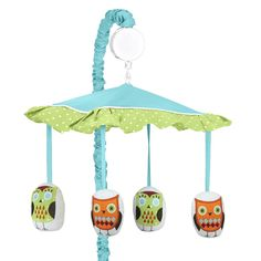 Sweet JoJo Designs Musical Mobile for Turquoise Hooty Owl Baby Crib Bedding Set | eBay