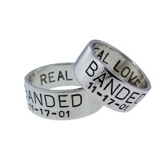 Custom Silver Duck Band Wedding Ring Set His Hers Rings Handstamped Date Names BANDED Handcrafted Personalized Jewelry I Do Artisan