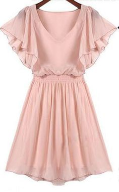Pink Ruffle Short Sleeve Pleated Dress EUR€12.54