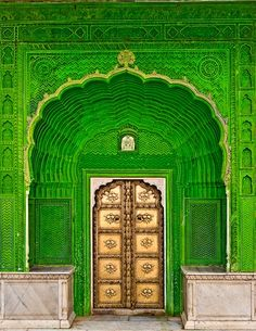 Door of Ganesh in City Palace, Jaipur, India