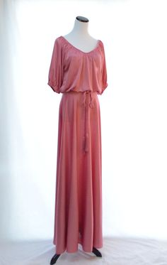 Rose Pink Romantic Maxi Dress  // Pink 70s Vintage by CoolMintMoon