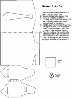 Billedresultat for wedding card template cut dress This is an awesome card idea.Bilderesultat for tutorial tuxedoDressShirt/Tie/Vest Card Template:: Perfect for Father's Day.New origami tutorial easy rose IdeasT T shirt and waistcoat templatepergaman Cool Cards, Diy Cards, Shaped Cards, Fathers Day Crafts, Card Tutorials, Card Sketches, Masculine Cards, Homemade Cards, Envelopes