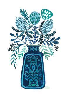 West German Pottery Banksia Mid century wall art Native   Etsy Flower Outline, Flower Art, Scandinavian Wall Decor, Mid Century Wall Art, Australian Native Flowers, Plant Illustration, Floral Illustrations, Watercolor Print, Botanical Prints