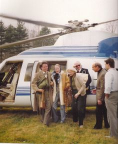 Doris Duke arriving in a helicopter for Thanksgiving Dinner at C.Z. Guest's Templeton