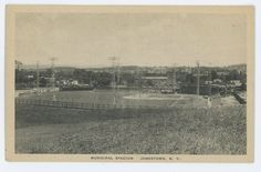 This card shows a view of the Local Area Baseball Stadium Grand Stands See pix. Jamestown Ny, College Fund, Minor League Baseball, Historical Photos, The Locals, Paris Skyline, Postcards, New York, Logos