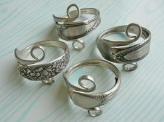 Silverware Napkin Rings, Antique Silver Forks, Set of 4, Lot 5. $38.95, via Etsy.