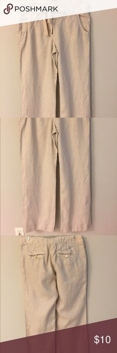 Wide-leg linen pants. Wide-leg drawstring waist linen pants from J. Crew.  City Fit style. Small spot on the front right leg at the cuff - purchased like his from factory store. Perfect for summer or any beach vacation! J. Crew Pants Wide Leg