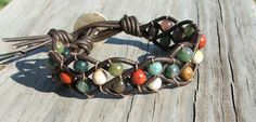 Woven Leather and bead bracelet cuff with Fancy Jasper stone. $25.00, via Etsy.