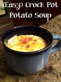 EASY CROCKPOT POTATO SOUP RECIPE 1 (30 oz.) bag frozen hash-brown potatoes 2 (14 oz.) cans chicken broth 1 (10.75 oz.) can cream of chicken soup 1/2c chopped onion 1/3 tsp. ground black pepper  Garnish: minced green onion 1. In a slow cooker, combine potatoes, broth, soup, onion, and pepper. 2. Cover, and cook on low for 5 hours. 3. Garnish with green onion.