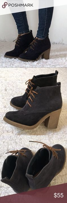 """🍁🍂 Brand NWOT Suede heeled ankle booties GET READY FOR FALL 🍁🍂  Brand NWOT supercute dark blue suede heeled ankle booties Fits true to size. Heel approx 3"""" Size 8. Wear them with your favorite jeans. Super comfy and stylish Primark Shoes Ankle Boots & Booties"""