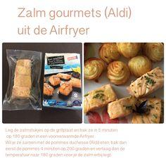 Zalm gourmets uit de Airfryer. 5 minuten, 180 graden. AK