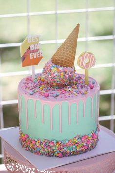 Ice Cream Cone Drip Cake from a Pastel Sweet Birthday Party on Kara's Party . - Ice Cream Cone Drip Cake from a Pastel Sweet Birthday Party on Kara's Party . Ice Cream Cone Cake, Ice Cream Birthday Cake, Ice Cream Theme, Diy Ice Cream, Ice Cream Party, Birthday Cake Girls, 2nd Birthday Parties, Cream Cake, Cake Cone