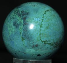 """Chrysocolla Gem Stone Sphere #0465, Mexico, 2.6 """" in diameter. Available @ www.RocknSpheres.com"""