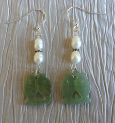 Carved Jade Earrings with Fresh Water Pearls Fish by RareFlair, $14.00