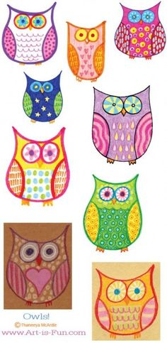 Hand drawn owls for the kids. Fun and Easy