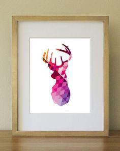Stag Sillouhette - Geometric Abstract Art Print. Multicolor. Home Decor. Office Decor 8 x 10.