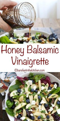 Honey Balsamic Vinaigrette is sweet and tangy and while it is delicious on almost any salad, it pairs especially well with salads that contain fruit. I made it the first time to serve with the Blueberry Apple Walnut Salad that I'll be sharing on Thursday, Balsamic Vinaigrette Recipe, Salad With Balsamic Dressing, Salad Dressing Recipes, Balsamic Vinegarette, Dressing For Spinach Salad, Mediterranean Salad Dressing, Gluten Free Salad Dressing, Homemade Balsamic Dressing, Honey Dijon Dressing