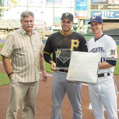 The Pirates where in town on 9/32015. Former Brewer Aramis Ramirez was honored by the Brewers (Bob Melvin and Craig Counsell) for his accomplishments as a Brewer!