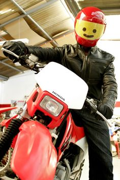 Lego motorcycle helmet. I would love to see someone wearing this!