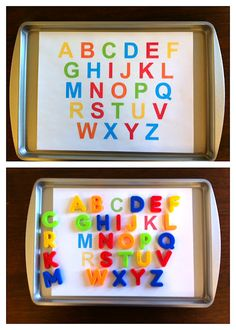 The Intentional Momma: Alphabet Printable for Magnet Matching (get alpha magnets, print matching alpha in sheet of magnet, match color?, include cookie sheet & other matching sheets: name, other common words