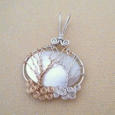 Sterling Silver and Gold Mother of Pearl Trees of Life Pendant | Shellamie - Jewelry on ArtFire