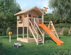 Baumhaus Fridolino shed design shed diy Kids Backyard Playground, Backyard Playset, Backyard Playhouse, Backyard For Kids, Outdoor Playset, Kids Play Area, Shed Design, Outdoor Projects, Garden Planning