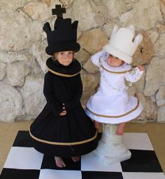 Chess King and Queen For Halloween this year I made the kids chess costumes. The body of the costume is an A line dress with boning in the hem. I added an extension past the hem to give the costume the appearance of a… Queen Halloween Costumes, Purim Costumes, Carnival Costumes, Cool Costumes, Vampire Costumes, Children Costumes, King And Queen Costume, King Costume, Chess King And Queen