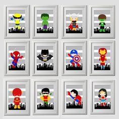 super-héros mur, 12 tirages réels, super-héros wall art imprime, la valeur des tirages de qualité 12, livré à votre porte, 8 x 10 pouces de chaque