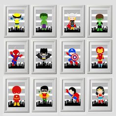 superhero wall art decor bedroom prints, 12 - inch, high quality prints, shipped to your door, modern superhero bedroom or nursery