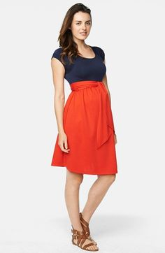 Free shipping and returns on Maternal America Tie Front Maternity Dress at Nordstrom.com. A super-soft knit top meets a lustrous woven skirt to comprise a stylish color-blocked dress finished with a bump-enhancing sash at the Empire waist.