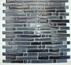 """""""PICASSO"""" Black brushed mosaic tile backsplash tiles bath wall bar floor back #NU"""