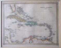 1842-Map-of-the-West-Indies-Drawn-Engraved-by-Alexander-Findlay-Hand-coloured