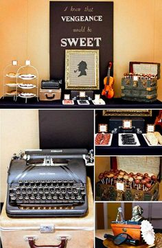 Sherlock Holmes themed party with Such Great Ideas via Kara's Party Ideas KarasPartyIdeas.com #DetectiveParty #MurderMystery