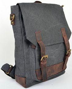 Zenness New Fashionable Genuine Leather & Canvas Casual Backpack School Bag for Boys and Girls (Gray) - Click image twice for more info - See a larger selection of boys teens backpacks - kids, boys, little boys, school supplies, kids fashion , teenager, bags.