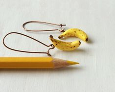 Olivia Vellani is a Toronto/Canada based visual artist, specializing in food art sculpture + photography. Polymer Clay Miniatures, Miniature Food, Food Art, Sculpture Art, Jewelry Art, Sculpting, Banana, Earrings, Artist