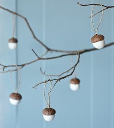 Hand felted acorn decorations, white - wool, hemp - at mydeco.com - Shop for your home from Europe's best boutiques. This product is delivered by The Original Pop Up Shop
