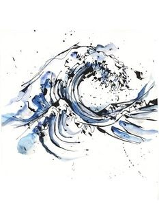 Ink splattered waves