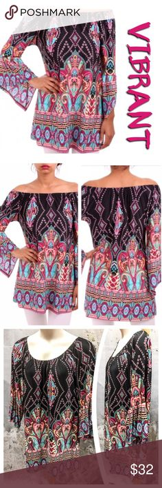 GORGEOUS BELL SLEEVE TUNIC Multi color print, bell sleeve tunic with elasticized neckline designed to be worn on or off shoulder. Loose fit, extremely soft. 92% polyester/7% spandex. Measurements upon request. ACTUAL TOP 3rd & 4th PHOTOS. tla2 Tops Tunics